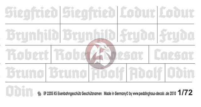 1//72 ep 2205 K5 Eisenbahngeschütz Geschütznamen